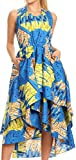 Sakkas WD1624 - ADA Ankara Wax Dutch African Sleeveless Dress Cascading Hi Low Layers - 1145 Turq/Lemon-Deco - OS