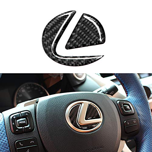 Thor-Inst Carbon Fiber Pattern Steering Wheel Center Logo Cover Trim for Lexus GS GX ES LX RX LS CT is NX Steering Wheel Logo Cover Sticker Emblem Badge Decoration (Steering Wheel Logo-Black) ()