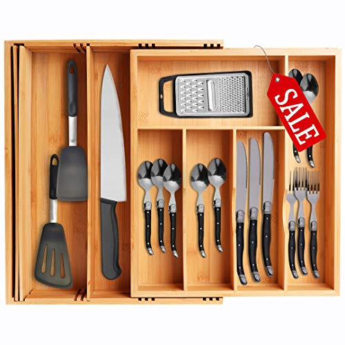 VOXXOV Silverware Organizer-Bamboo Cutlery and Flatware Drawer Organizer Tray-Kitchen Expandable Utensils Drawer Organizer with Drawer Dividers-2-in-1 Design-Ideal for Organizing Other Accessories