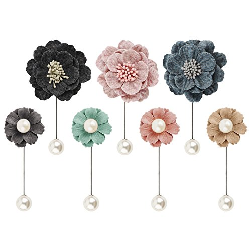 7pcs Flower Pearl Brooch Pins, Boutonniere Lapel Hat Pin, Handmade Wool Felt Flower Badges, Womens Brooch Shawl Pin for Corsages, Camellia Japonica Felt Pins Flower Patterns