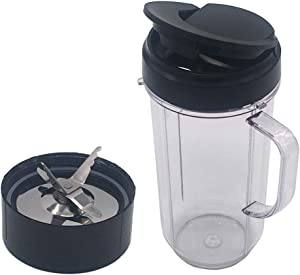 Joystar Replacement Part Ice Shaver Blade extra 20oz cup with lid for Magic Bullet Blender, Mixer, Juicer, Food Processor (Model MB1001/MB 1001B/MBR-1701 /MBR-1702 /MBR-1101 /MB-BX1770-02/MBR-0301) (22oz cup with blade)