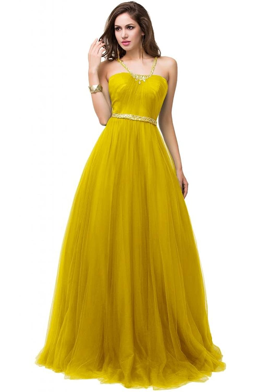 Sunvary Strapless Organza Tulle Open Back Sexy Prom Gowns Evening Dresses