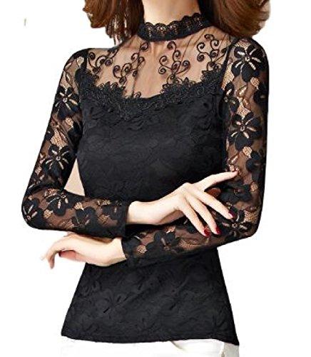 (YAMSSY) レディース レース ブラウス トップス 長袖 きれいめ エレガンス 大人 刺繍 結婚式 2色展開(黒、白)