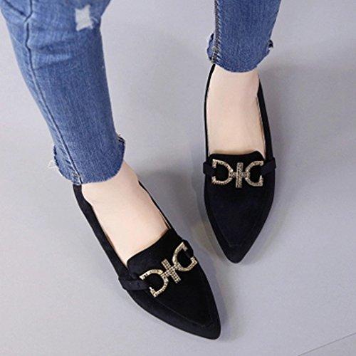 Giy Mujeres Classic Pumps Mocasines Hebilla Puntiaguda Slip-on Cuadrícula Block Heel Dress Loafer Pump Zapatos Black