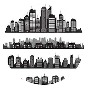 alfombrilla de ratón Conjunto de ciudades vector silueta y edificios - ronda - 20cm