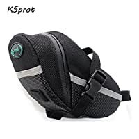KSprot Bicycle Saddle Bags, Bike Seat Pack, Strap-on Bag, Capacious, Rainproof, Easy Installation, Taillight Compatible(black?