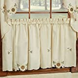 Sunflower Cream Embroidered Kitchen Curtains – Tiers Valance or Swag (24 Cafe/ Tier Curtains)