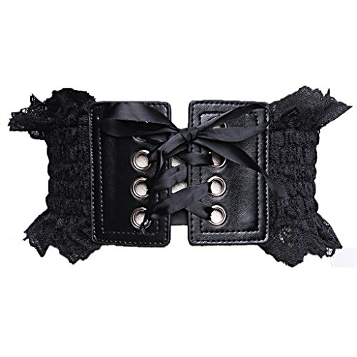 Charming House Women Lace Wide Stretchable Ribbon Tied Elastic Corset Wrap Belt (Black 2) (Lace Belted Belt)