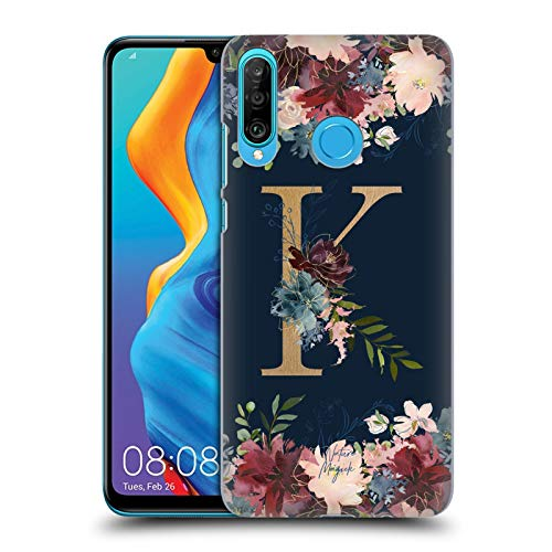 Official Nature Magick Letter K Floral Monogram Gold Navy Hard Back Case Compatible for Huawei P30 Lite