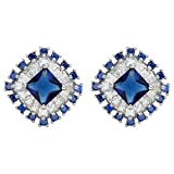 EleQueen 925 Sterling Silver Prong Full Cubic Zirconia Art Deco Dazzling Bridal Halo Stud Earrings Sapphire Color