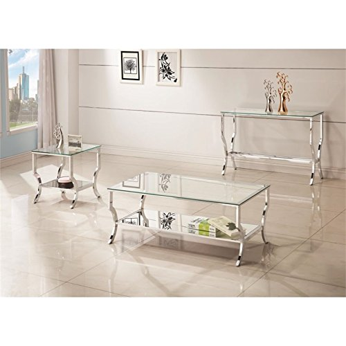 Coaster 720337-CO 1 Shelf Glass Top End Table, Chrome by Coaster Home Furnishings (Image #3)