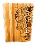 Cigarette Pack Holder Wooden Hand Crafted Sugar Skull Day of Dead Design for Standard Pack (Natural)
