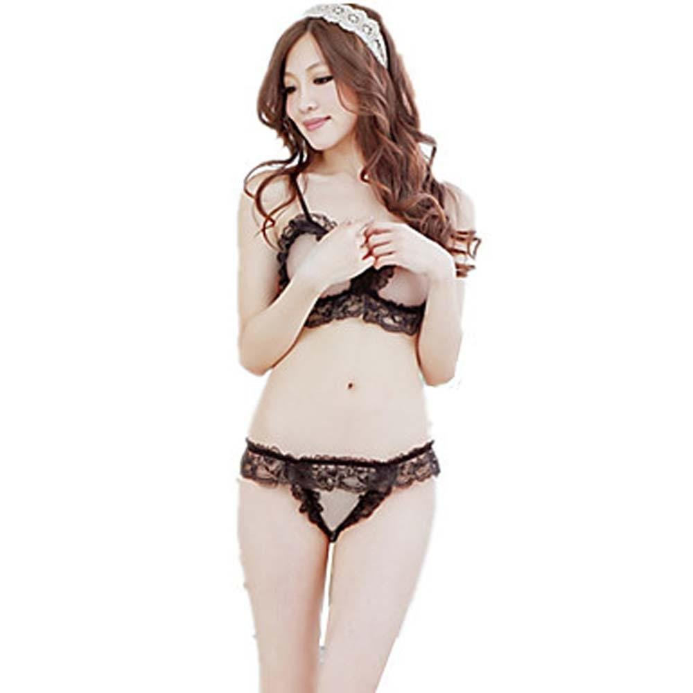 WWQY Women's Sexy Temptation Lace Jacquard Pajamas , black , one-size