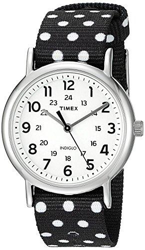 Timex Women's TW2P86600 Weekender Reversible Black/White Dots Nylon Slip-Thru Strap Watch