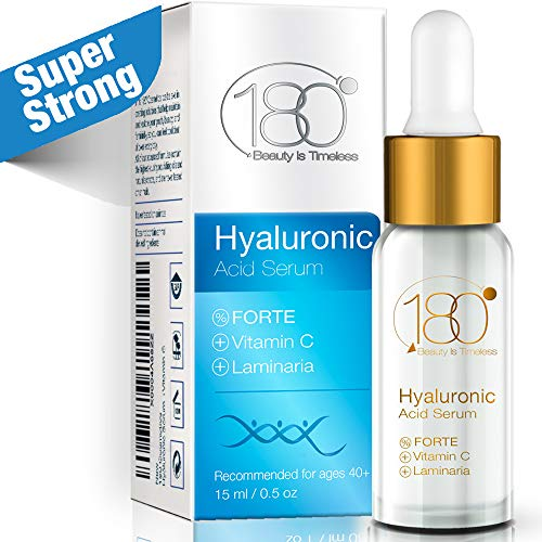 Hyaluronic Acid & Vitamin C Facial Serum Forte - 180 Cosmetics - Super Concentrated Anti Aging Hyaluronic Serum for Immediate Results - Night Serum - For Mature Skin Wrinkles & - Instant Change