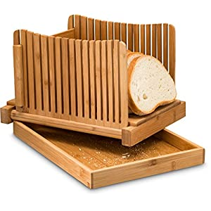 Bamboo Foldable Bread Slicer with Crumb Catcher Tray for Cutting Even Slices Every Time, Wooden Manual Bread Slicer Perfect for Homemade Breads and Loaf Cakes, Folds Flat for Easy Storage By: Bambüsi