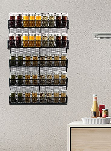 ESYLIFE 5 Tier Wall Mount Spice Rack Organizer Large ...