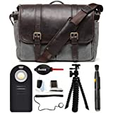 Ona Brixton Smoke/Dark Truffle 50/50 DSLR Camera Bag, Waxed Canvas w. Leather & Photographers Accessory Kit