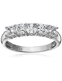 Platinum-Plated Sterling Silver Swarovski Zirconia 2 cttw Asscher 5 Stone Ring