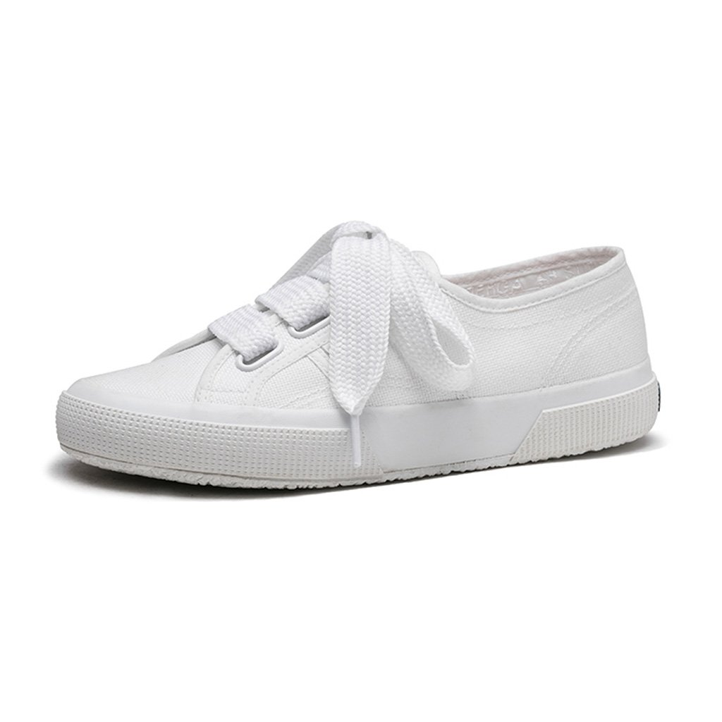 LIUXUEPIN Frühling und Sommer Neue Produkte Breite Spitze Flache Schuhe Modisch Frau Segeltuchschuhe Faul Weiße Schuhe Weiß