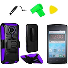 Holster Belt Clip + Hybrid Cover Phone Case + Screen Protector + Extreme Band + Stylus Pen + Pry Tool For ZTE Quest N817 Virgin Assurance QLink N-817 Legacy (Holster Belt Clip Black/Purple)