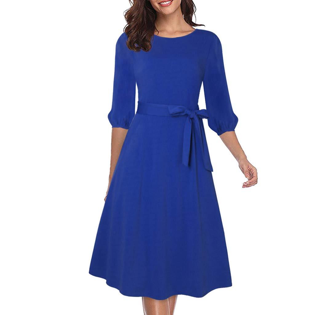 bluee XXLargeXimandi Women's Solid O Neck Short Sleeve Casual Swing Midi Dress with Belt