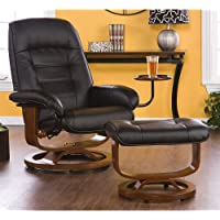 Holly & Martin Hemphill Leather Recliner and Ottoman CAFE BROWN