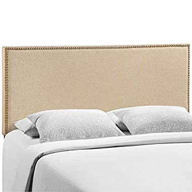 LexMod Region Nailhead Upholstered Headboard, Queen, Café