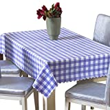 Uforme Classic Purple Checks Table Cloth Vinyl Spill Proof and Oil Proof for Dinning Room, 42 Inch By 60 Inch