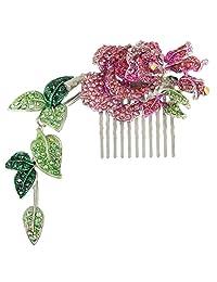 Ever Faith Silver-Tone Austrian Crystal Enamel Wedding Rose Flower Vine Leaf 5.5 Inch Hair Comb