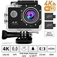 Beownwear 4K Action Camera WIFI 170 Degree Wide Angle Lens Full HD 1080P Waterproof Camcorder 2 inch Screen Sport Cam with 2 PCS 1050mAh Batteries and 18 Accessories Kits(Black)