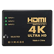 CoCocina 3 In 1 Out 3D 4K*2K HDMI 1080P Switch Selector Splitter For HDTV DVD Xbox 360 PS3