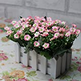Wawoo Artificial Orchid Flowers Plastic Fake Orchid Flowers Plants, 11 Bunches Decorative Artificial Orchid Flowers in Wooden Picket Fence Pot for Wedding Ceremony Party Home Decoration