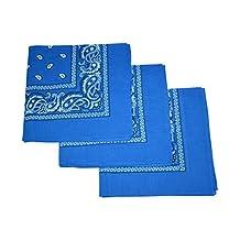 Set of 3 Large Cotton Paisley Bandanas - Blue