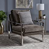 Electa Modern Grey Velvet Club Chair with Chrome Finished Stainless Steel Frame