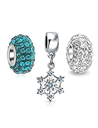 Bling Jewelry 925 Sterling Christmas Snowflake Simulated Blue Topaz CZ Bead Bundle Fits Pandora
