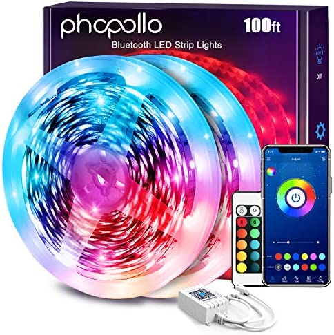 Phopollo Led Lights 100ft for Bedroom Smart Work with Music sync Color Changing Led Tape with 24 Key Remote Flexible 5050 Led Ribbon