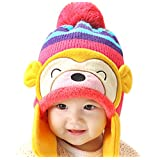 Luoke Winter Baby Boy Girl Kid Toddler Infant Cotton Knit Monkey Warm Hat Cap (Hot pink)