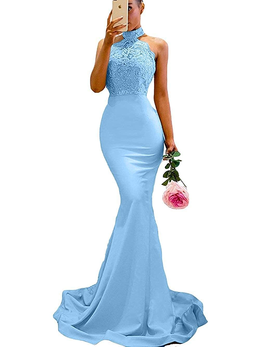 bluee Lnxianee Women's Halter Mermaid Prom Dresses 2019 Long Formal Evening Gowns