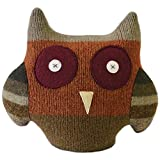 """Cate and Levi 12"""" to 15"""" Handmade Owl Pillow Pal (Premium Reclaimed Wool), Colors Will Vary"""