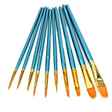10Pieces Round Pointed Tip Nylon Hair Brush Set, Artist Paint Brushes Set for Watercolor Oil Acrylic Painting Blue
