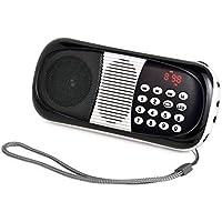 eJiasu Long Playing Time Audio Player MP3 Music Player Mini Pocket With USB port TF micro SD card slot Sound Box(Black)