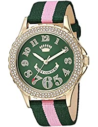 Women's Swarovski Crystal Accented Green and Light Pink Nylon Strap Watch