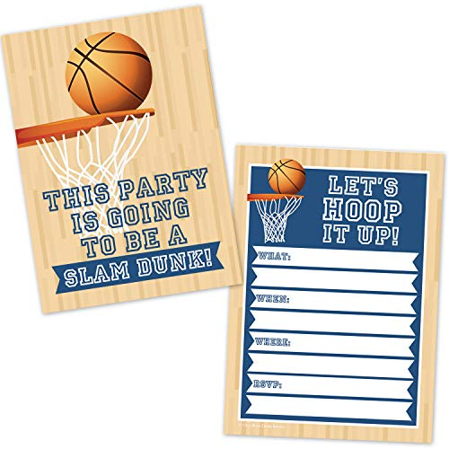 Basketball Birthday Party Invitations for Kids (20 Count with Envelopes) - Boys Sports Basketball Party Supplies - Hoops Slam Dunk Invites