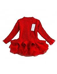 Little Girls' Spring Sweater Long Sleeves Tutu Dresses