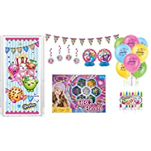 Shopkins Birthday Party Supply Complete Decoration Kit: Includes - Balloons, Door Poster, Cake Decoration Candles, Banner, Hanging Swirls, Honeycomb centrepiece and BONUS Beads Activity Kit