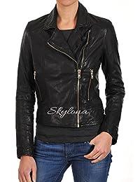 Womens Leather Jacket Stylish Motorcycle Biker Genuine Lambskin WJ 166