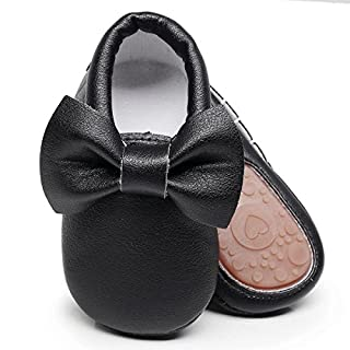 HONGTEYA Baby Moccasins with Rubber Sole - Flower Print PU Leather Tassel Bow Girls Ballet Dress Shoes for Toddler (6-12 Months/US 5/4.72''/ See Size Chart, Black)
