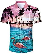 Aidaone Herren Hawaii-Hemd mit Knopfleiste, normale Passform, Strand Gr. XXL, Neurot