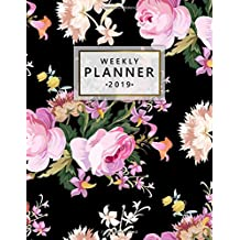 Weekly Planner 2019: Bright roses floral 2019 planner and organizer with weekly views, inspirational quotes, to-do lists, funny holidays and more. A pretty floral print planner for 2019.